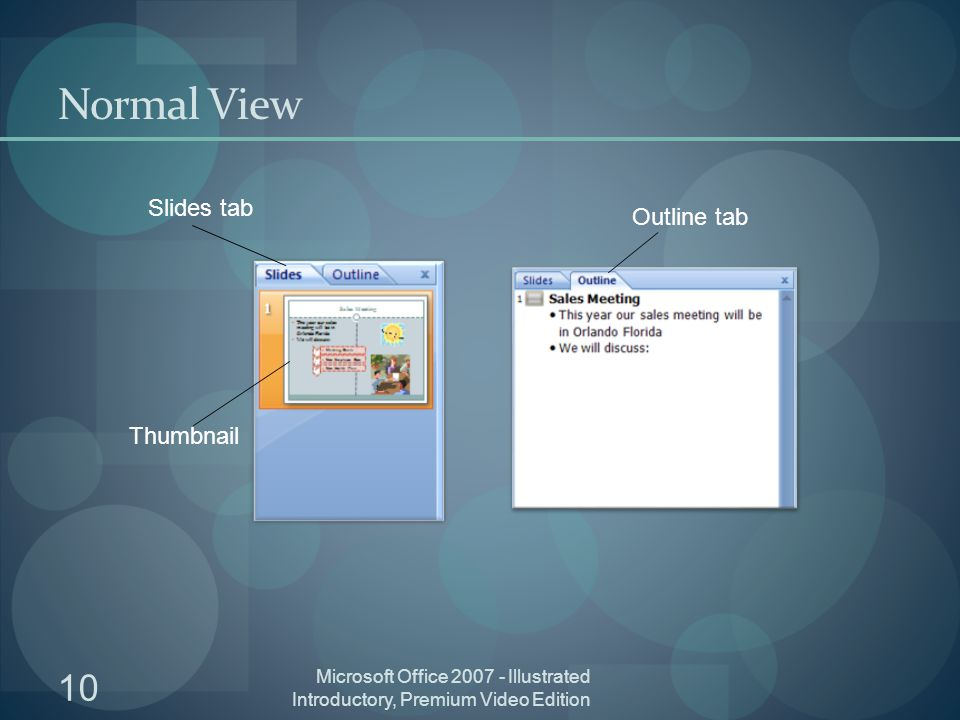 Microsoft Office Illustrated Introductory, Premium Video Edition 10 Normal View Slides tab Outline tab Thumbnail