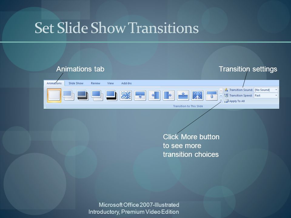 Microsoft Office 2007-Illustrated Introductory, Premium Video Edition Set Slide Show Transitions Animations tab Click More button to see more transition choices Transition settings