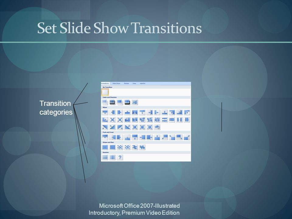 Microsoft Office 2007-Illustrated Introductory, Premium Video Edition Set Slide Show Transitions Transition categories
