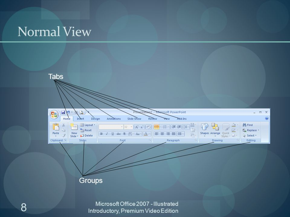 8 Microsoft Office Illustrated Introductory, Premium Video Edition Normal View Groups Tabs