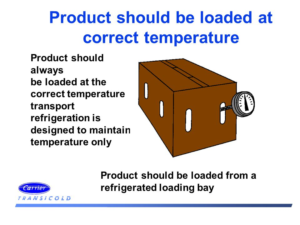 Product should be loaded at correct temperature Product should always be loaded at the correct temperature transport refrigeration is designed to maintain temperature only Product should be loaded from a refrigerated loading bay