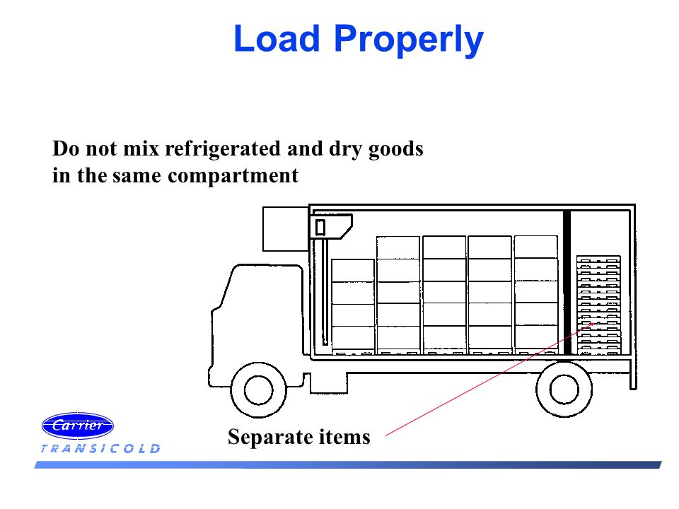 Load Properly Do not mix refrigerated and dry goods in the same compartment Separate items