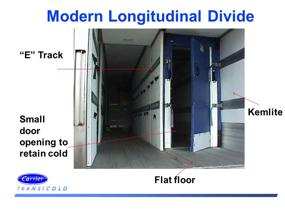 Modern Longitudinal Divide Kemlite Small door opening to retain cold Flat floor E Track