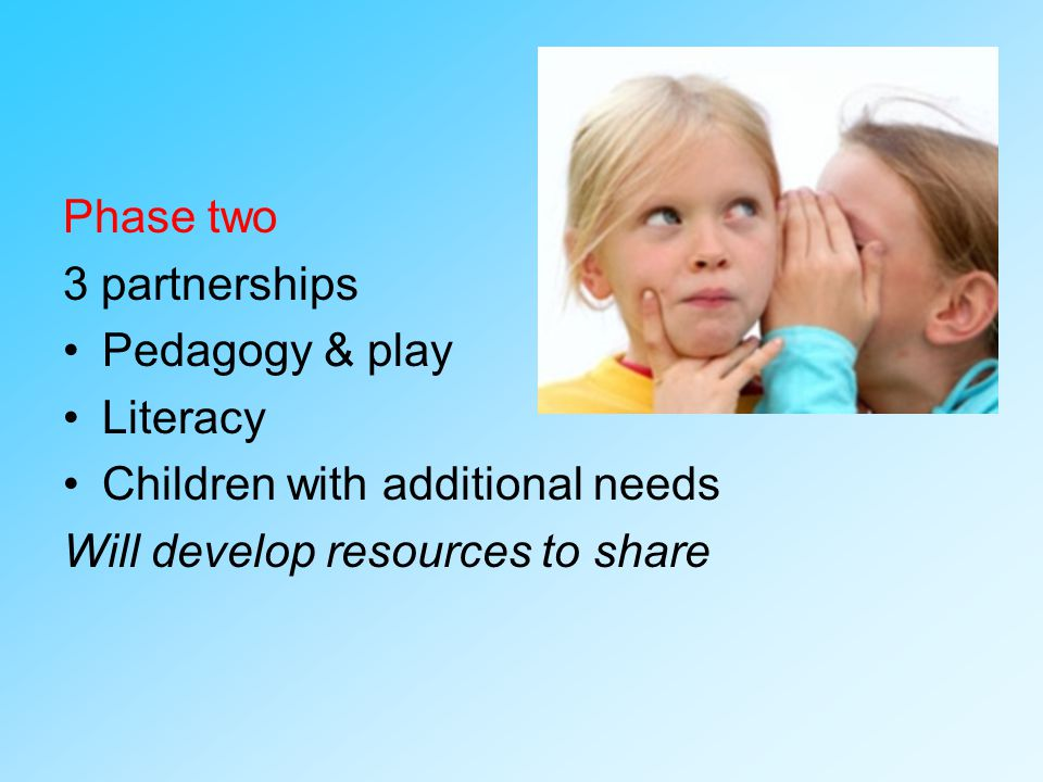 Phase two 3 partnerships Pedagogy & play Literacy Children with additional needs Will develop resources to share