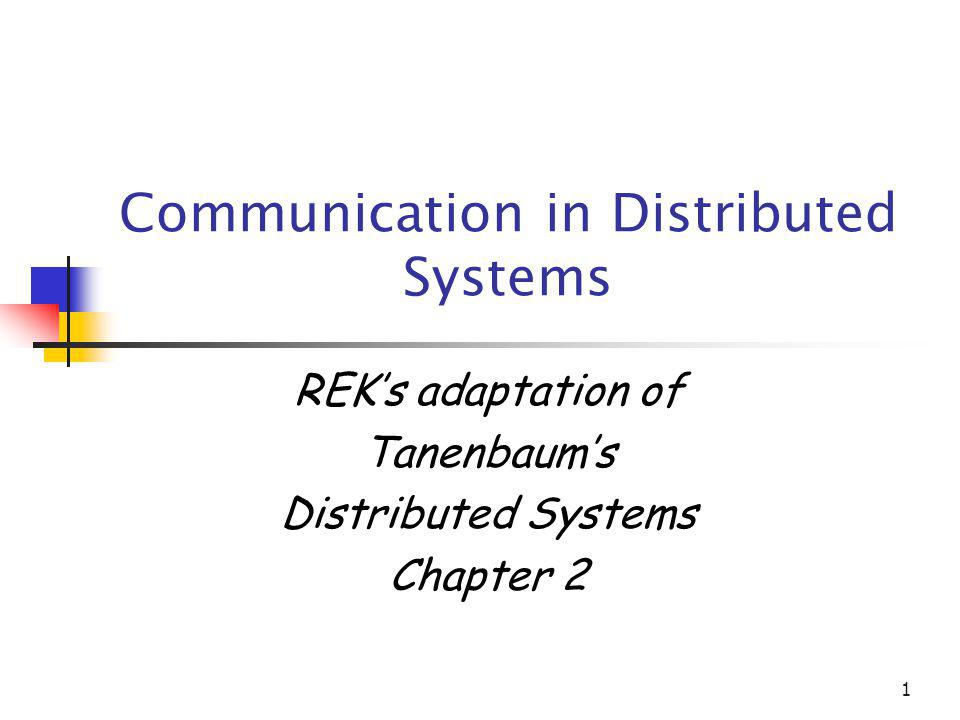 1 Communication in Distributed Systems REKs adaptation of Tanenbaums Distributed Systems Chapter 2