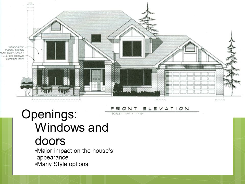 Openings: Windows and doors Major impact on the houses appearance Many Style options