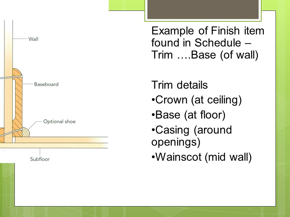 Example of Finish item found in Schedule – Trim ….Base (of wall) Trim details Crown (at ceiling) Base (at floor) Casing (around openings) Wainscot (mid wall)
