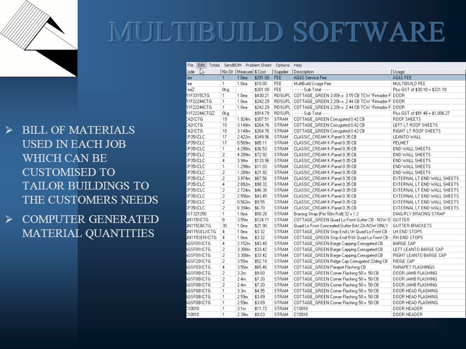 BILL OF MATERIALS USED IN EACH JOB WHICH CAN BE CUSTOMISED TO TAILOR BUILDINGS TO THE CUSTOMERS NEEDS COMPUTER GENERATED MATERIAL QUANTITIES