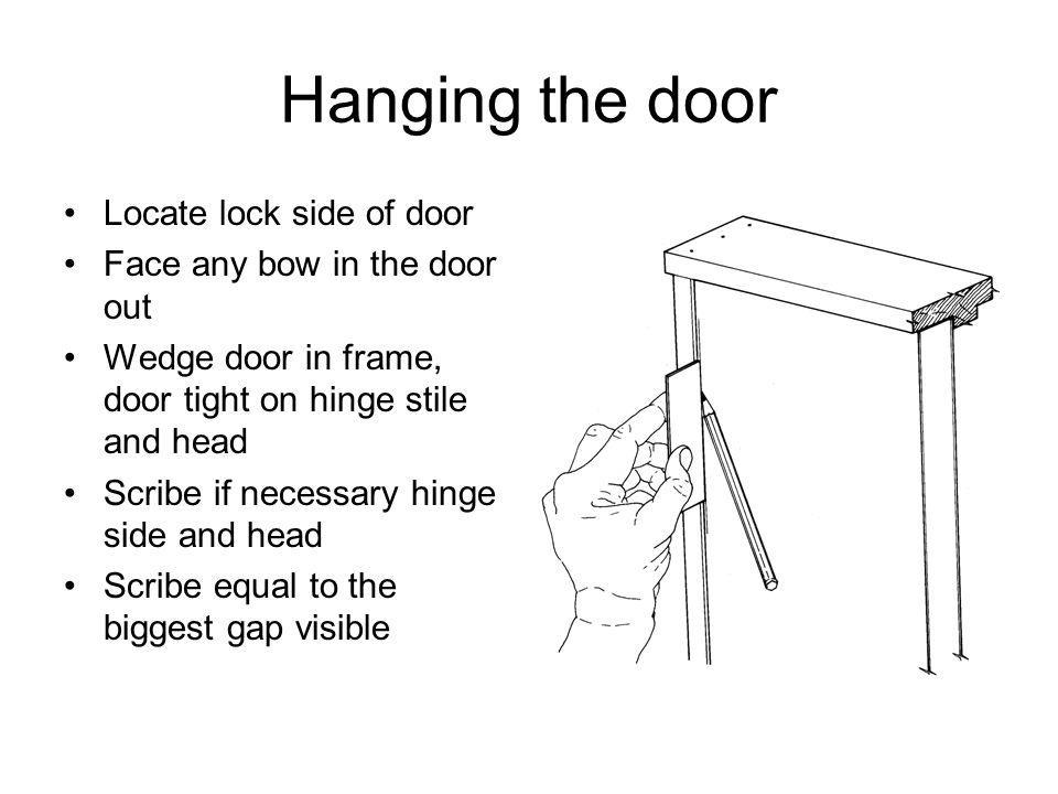 Hanging the door Locate lock side of door Face any bow in the door out Wedge door in frame, door tight on hinge stile and head Scribe if necessary hinge side and head Scribe equal to the biggest gap visible