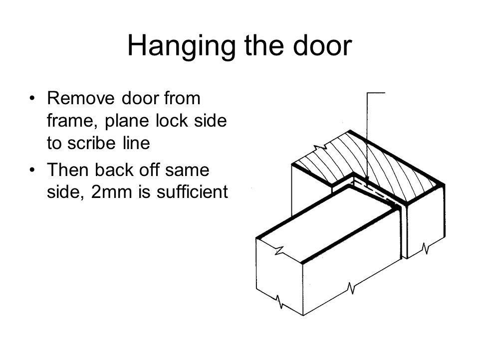 Hanging the door Remove door from frame, plane lock side to scribe line Then back off same side, 2mm is sufficient