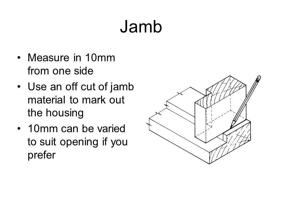 Jamb Measure in 10mm from one side Use an off cut of jamb material to mark out the housing 10mm can be varied to suit opening if you prefer