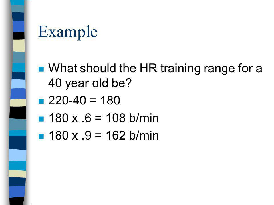 Example n What should the HR training range for a 40 year old be.