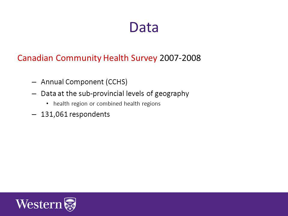Data Canadian Community Health Survey – Annual Component (CCHS) – Data at the sub-provincial levels of geography health region or combined health regions – 131,061 respondents