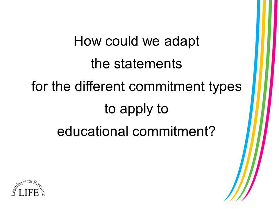 How could we adapt the statements for the different commitment types to apply to educational commitment