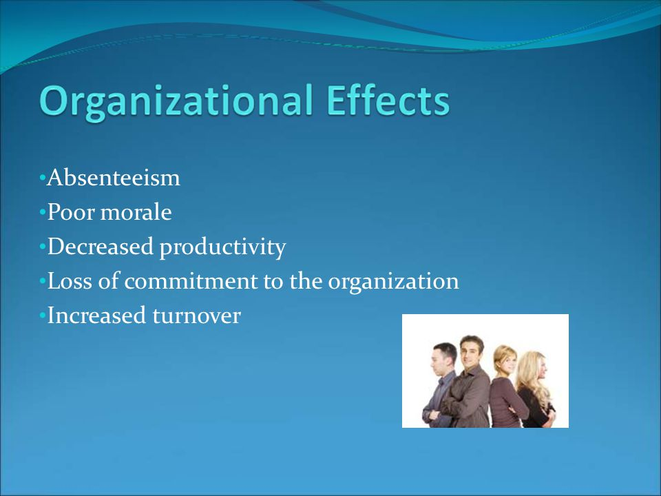 Absenteeism Poor morale Decreased productivity Loss of commitment to the organization Increased turnover
