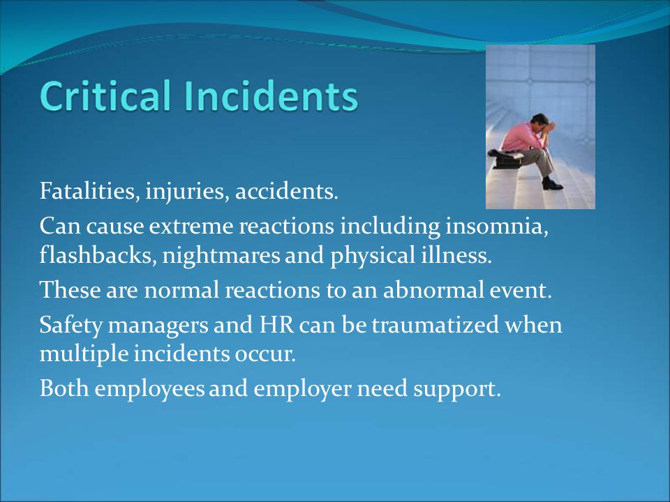 Fatalities, injuries, accidents.