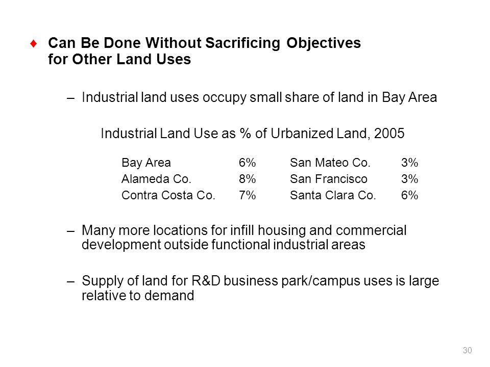 Can Be Done Without Sacrificing Objectives for Other Land Uses –Industrial land uses occupy small share of land in Bay Area Industrial Land Use as % of Urbanized Land, 2005 Bay Area6%San Mateo Co.3% Alameda Co.8%San Francisco3% Contra Costa Co.7%Santa Clara Co.6% –Many more locations for infill housing and commercial development outside functional industrial areas –Supply of land for R&D business park/campus uses is large relative to demand 30
