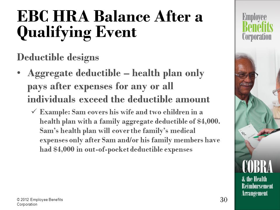 30 © 2012 Employee Benefits Corporation 30 EBC HRA Balance After a Qualifying Event Deductible designs Aggregate deductible – health plan only pays after expenses for any or all individuals exceed the deductible amount Example: Sam covers his wife and two children in a health plan with a family aggregate deductible of $4,000.