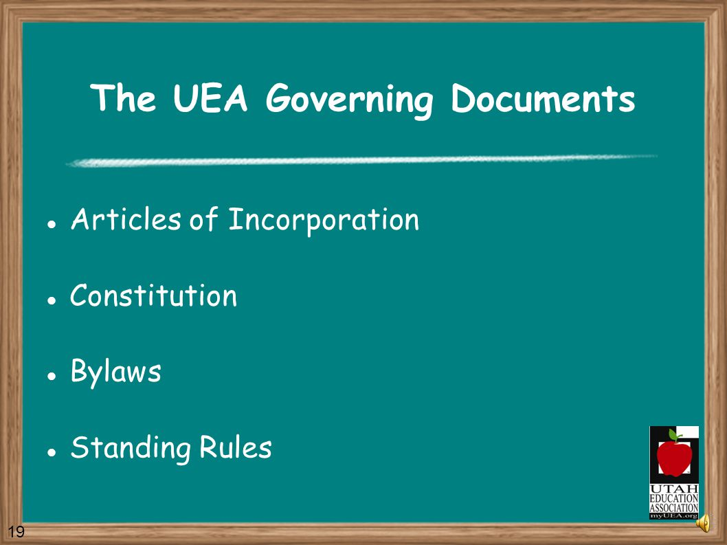 The UEA Governing Documents The Governing Documents describe how our Association is structured and how it functions.