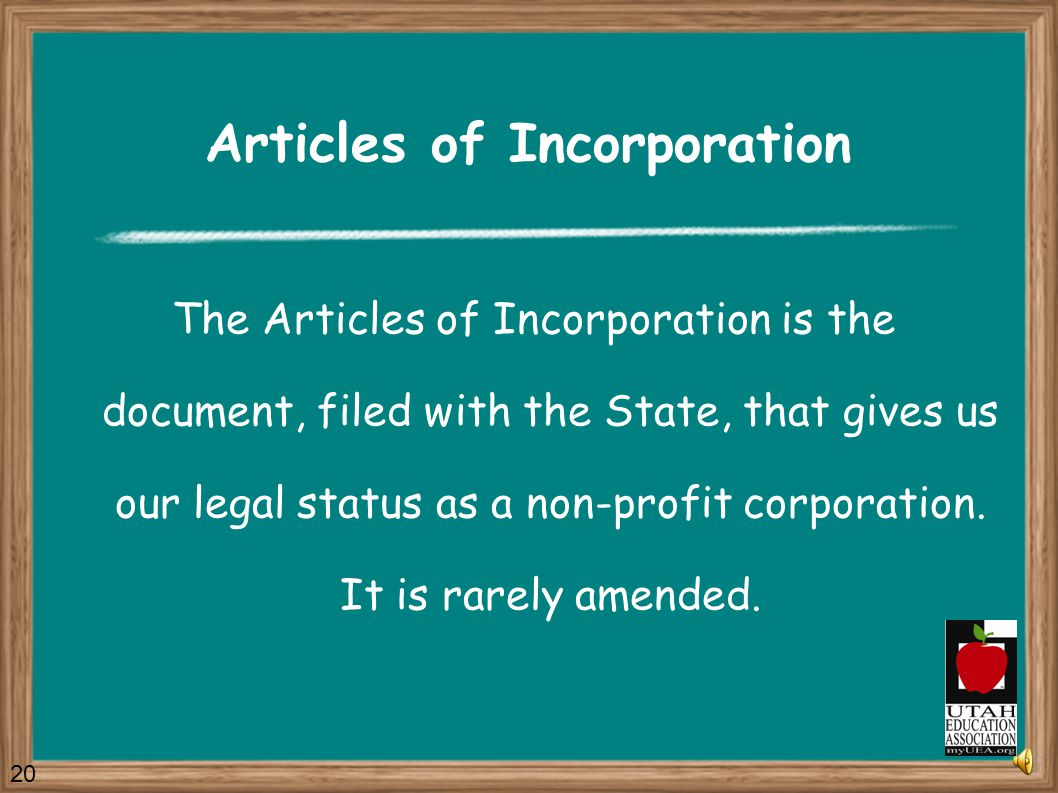 The UEA Governing Documents Articles of Incorporation Constitution Bylaws Standing Rules 19