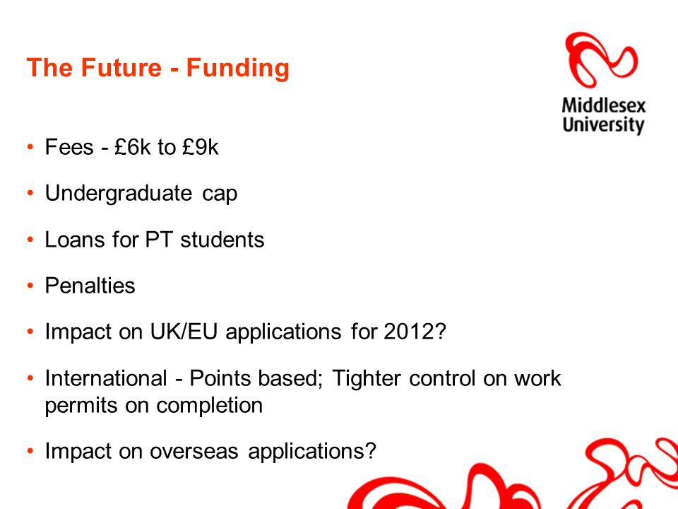 The Future - Funding Fees - £6k to £9k Undergraduate cap Loans for PT students Penalties Impact on UK/EU applications for 2012.
