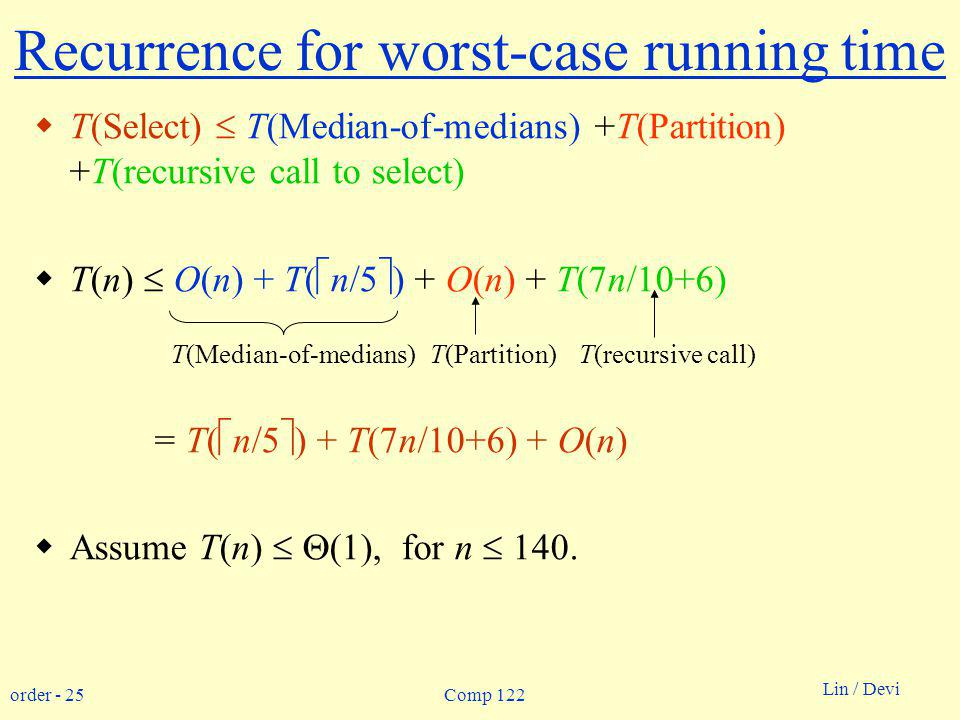 order - 25 Lin / Devi Comp 122 Recurrence for worst-case running time T(Select) T(Median-of-medians) +T(Partition) +T(recursive call to select) T(n) O(n) + T( n/5 ) + O(n) + T(7n/10+6) = T( n/5 ) + T(7n/10+6) + O(n) Assume T(n) (1), for n 140.