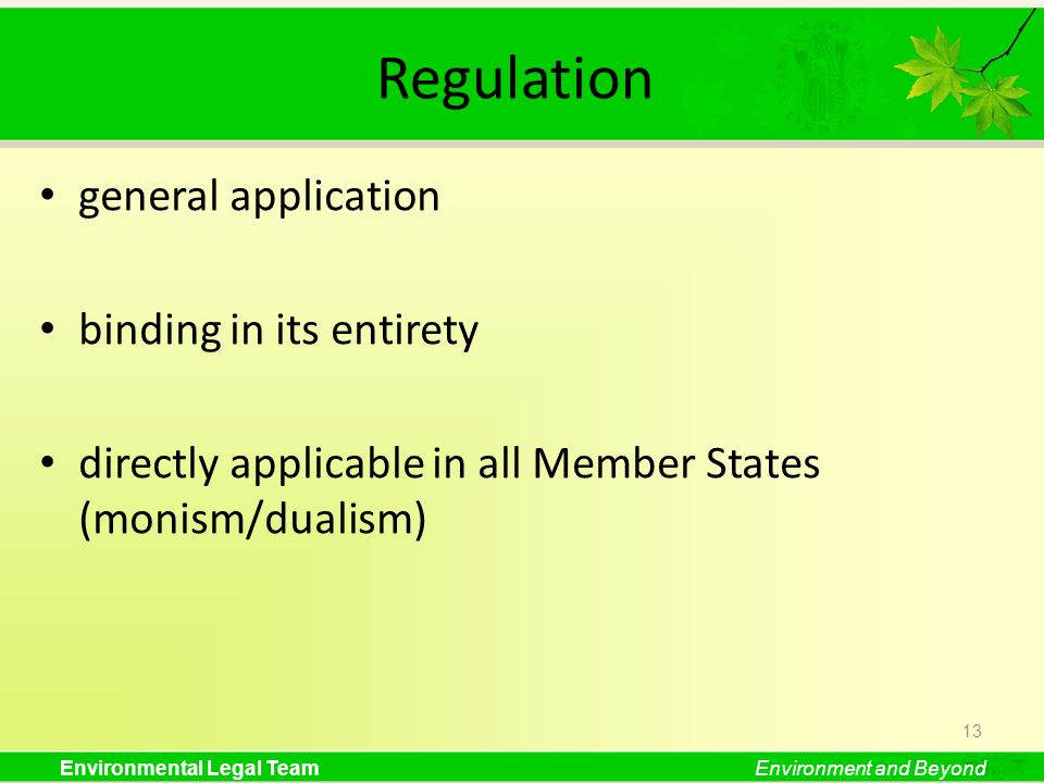 Environmental Legal TeamEnvironment and Beyond Regulation general application binding in its entirety directly applicable in all Member States (monism/dualism) 13