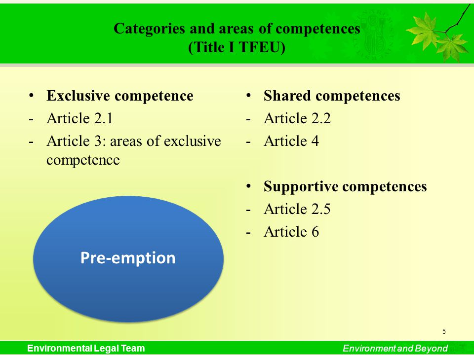 Environmental Legal TeamEnvironment and Beyond Categories and areas of competences (Title I TFEU) Exclusive competence -Article 2.1 -Article 3: areas of exclusive competence Shared competences -Article 2.2 -Article 4 Supportive competences -Article 2.5 -Article 6 5 Pre-emption