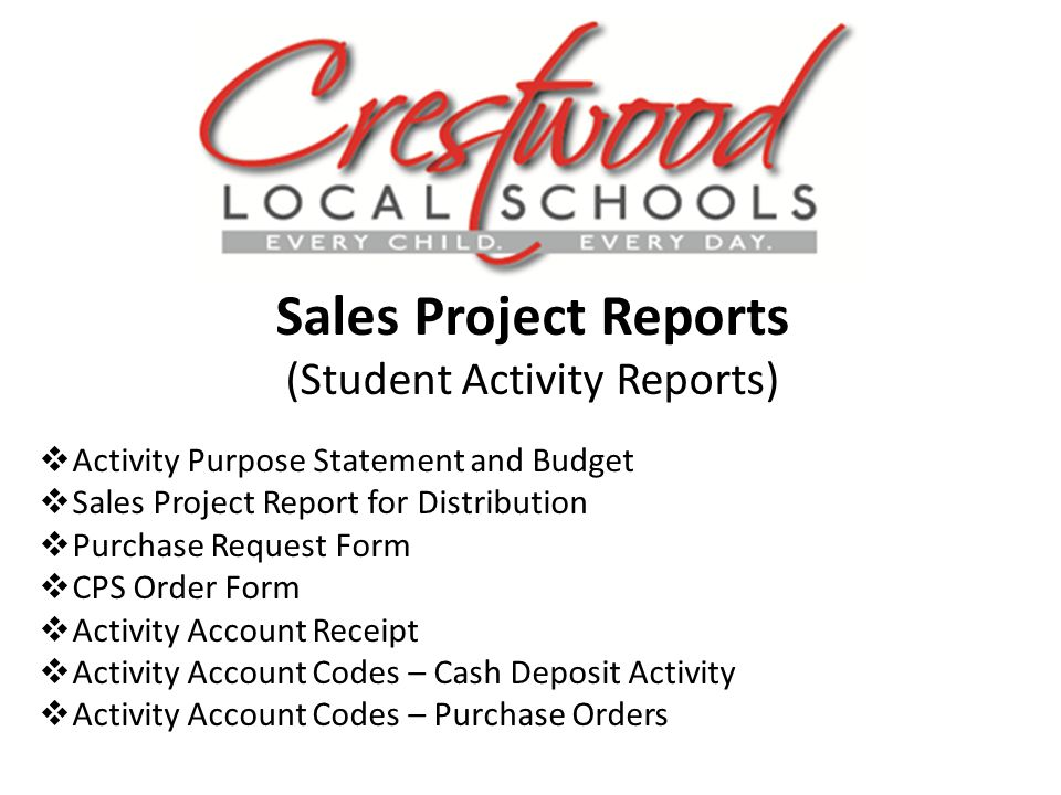 Sales Project Reports (Student Activity Reports) Activity Purpose Statement and Budget Sales Project Report for Distribution Purchase Request Form CPS Order Form Activity Account Receipt Activity Account Codes – Cash Deposit Activity Activity Account Codes – Purchase Orders