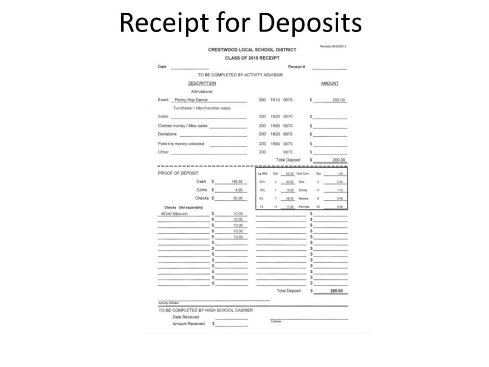 Receipt for Deposits