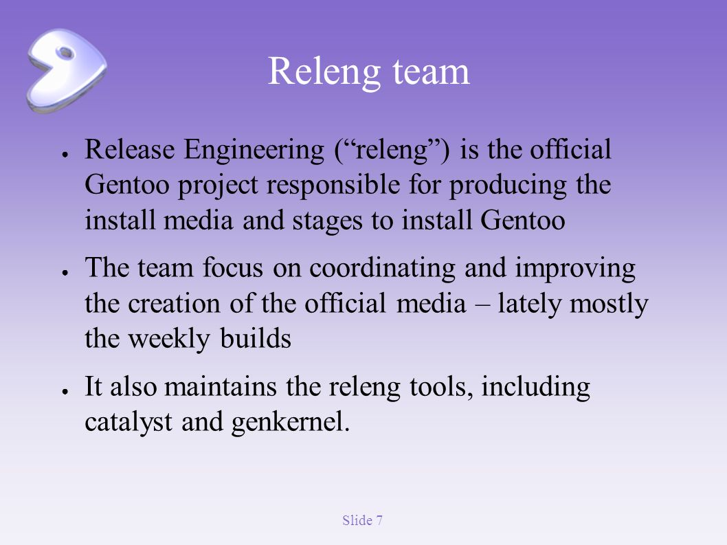 FOSDEM 2011 Gentoo's Release Engineering team and catalyst