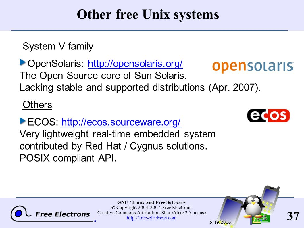 1 GNU / Linux and Free Software © Copyright , Free Electrons