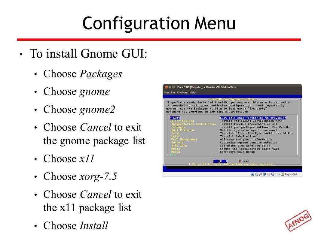 Virtualisation Exercise Installing VirtualBox Installing FreeBSD in