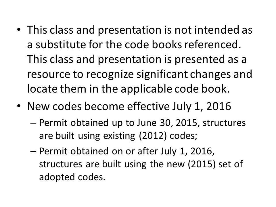 2015 Significant Changes to Residential Codes w/Washington ...