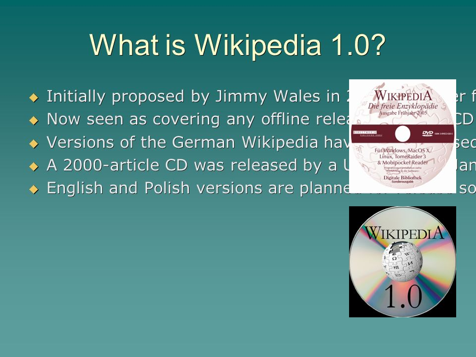 Wikipedia 1 0 Offline releases of the English language