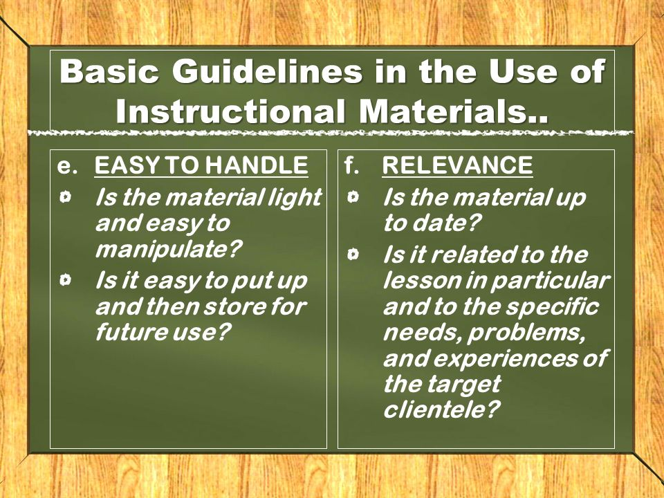 Criteria for selecting instructional materials.
