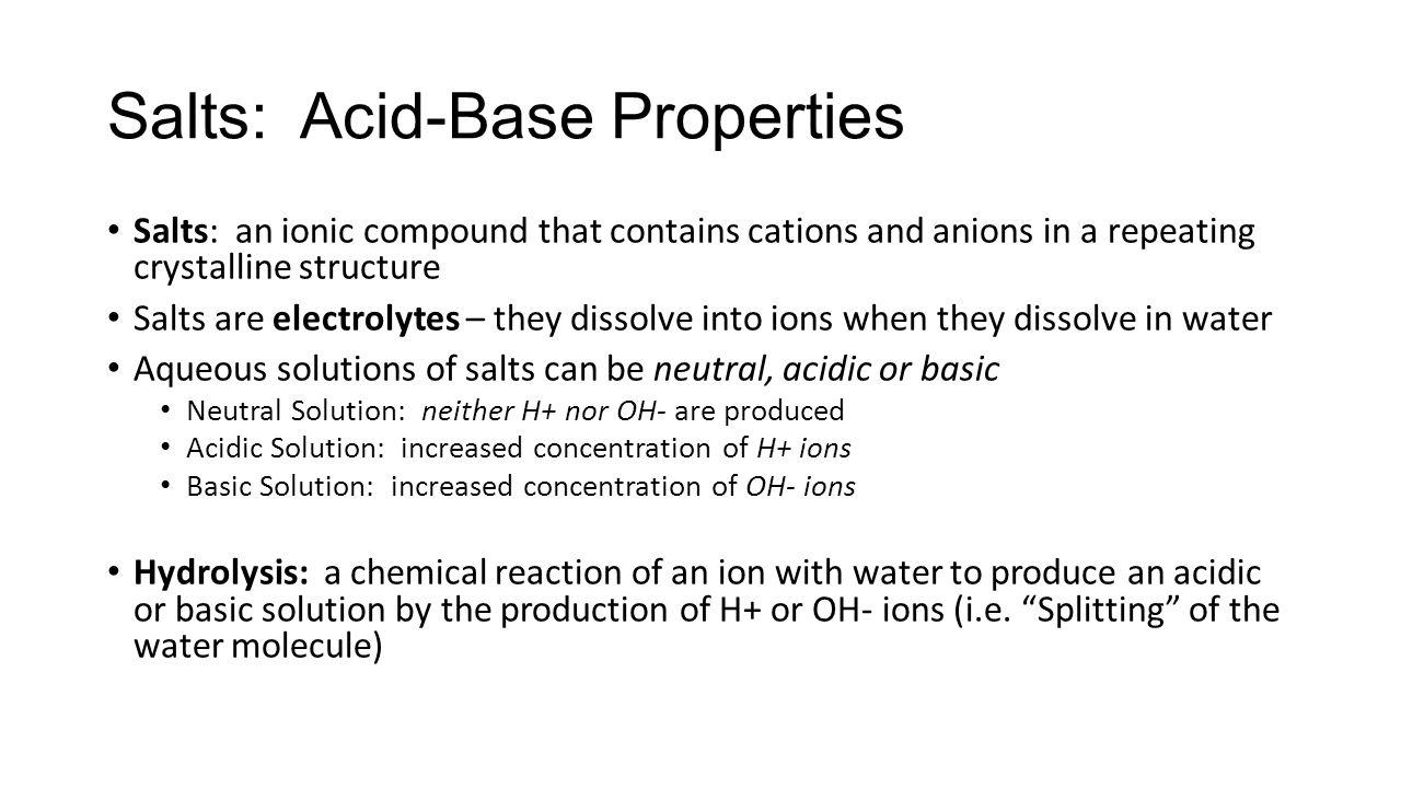 Acid-Base Properties of Salt Solutions Chapter ppt download