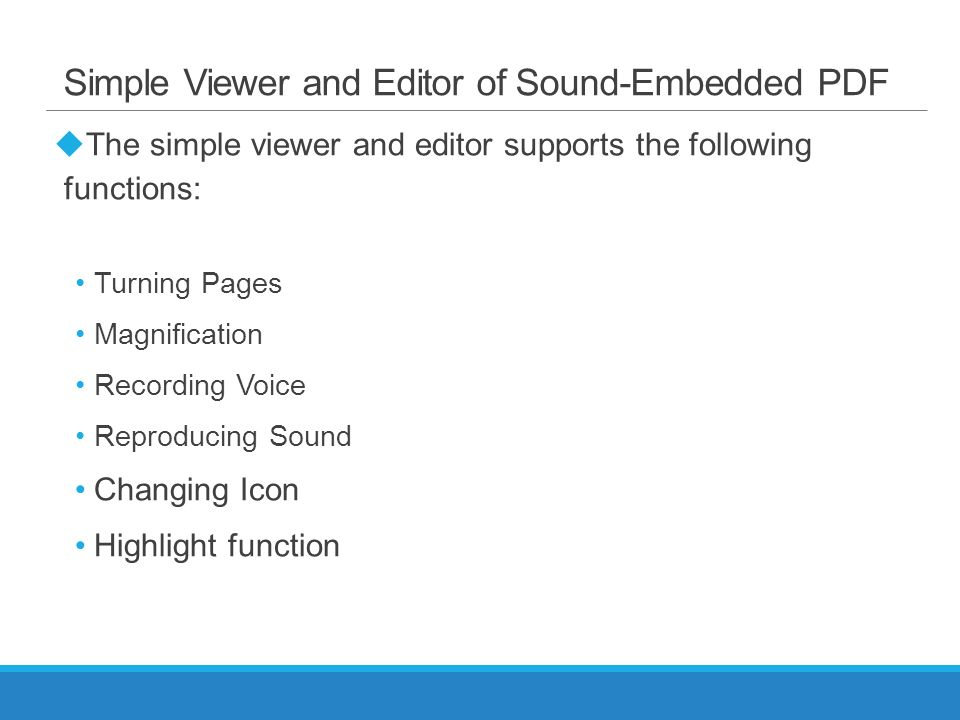 A Simple Viewer and Editor of Sound-Embedded PDF for