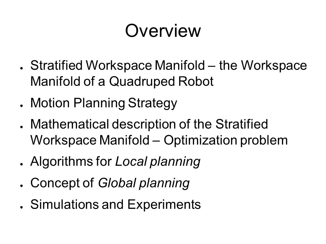 Motion Planning in Stratified Workspace Manifold of a
