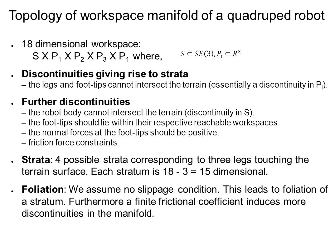 Motion Planning in Stratified Workspace Manifold of a Quadruped