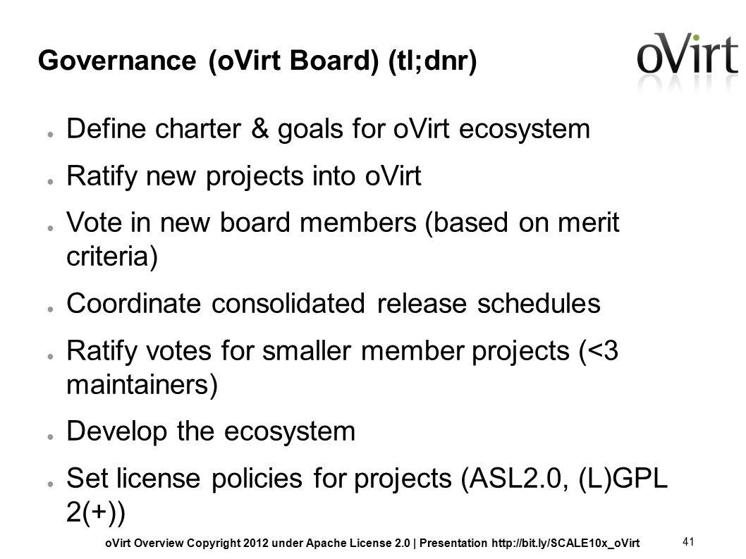 OVirt Overview Copyright 2012 under Apache License 2 0