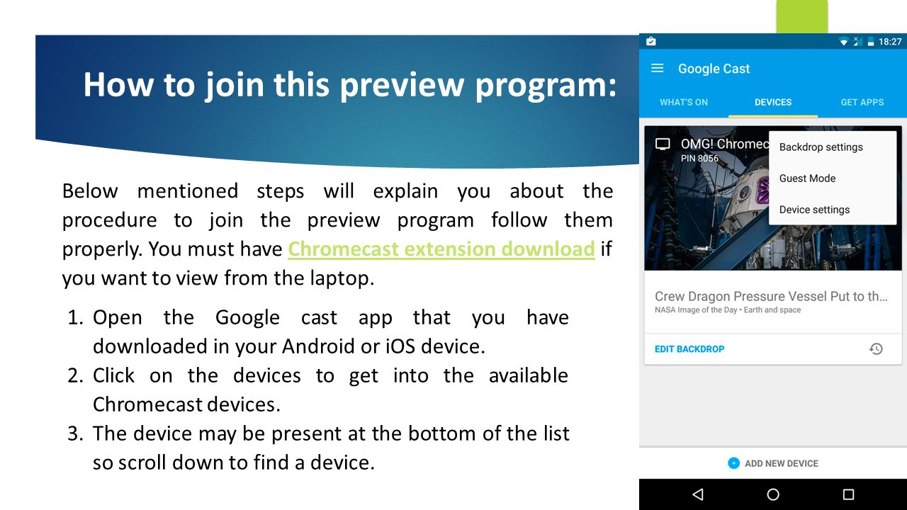 Google Chromecast download Update Via Preview Program BE THE FIRST