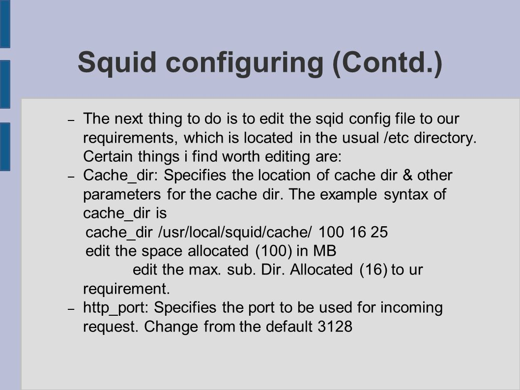 Network Services & Linux ○ Squid, LAMP & Ntop ○ - Configuring