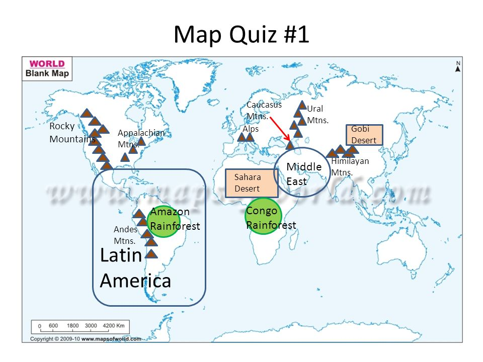 Map #1 Study Guide World Geography Map Quiz #1 North America South ...