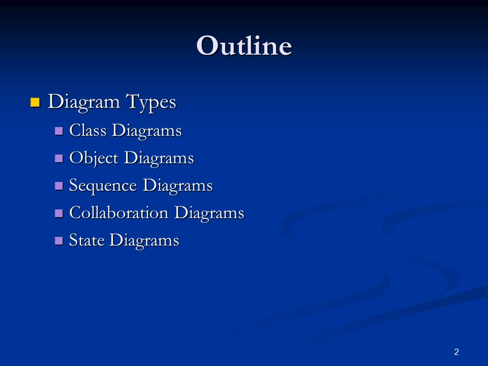 Chapter 1 overview of uml for java programmers 2 outline diagram 2 2 outline diagram types diagram types class diagrams class diagrams object diagrams object diagrams sequence diagrams sequence diagrams collaboration ccuart Choice Image