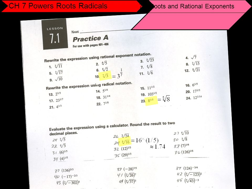 7 1 N Th Roots And Rational Exponents 7 2 Properties Of Rational