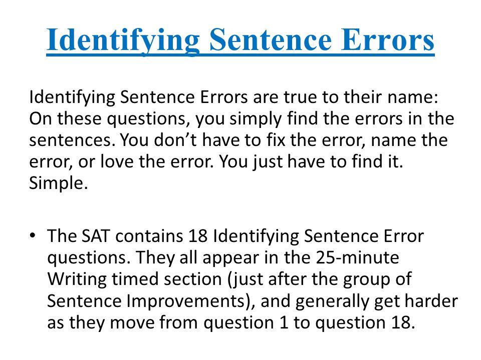 spotting errors