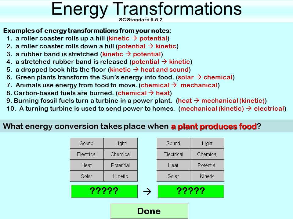 Energy Transformations Sc Standard Up A Roller Coaster Rolls Up A
