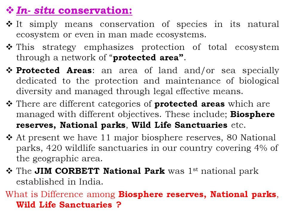  In- situ conservation:  It simply means conservation of species in its natural ecosystem or even in man made ecosystems.