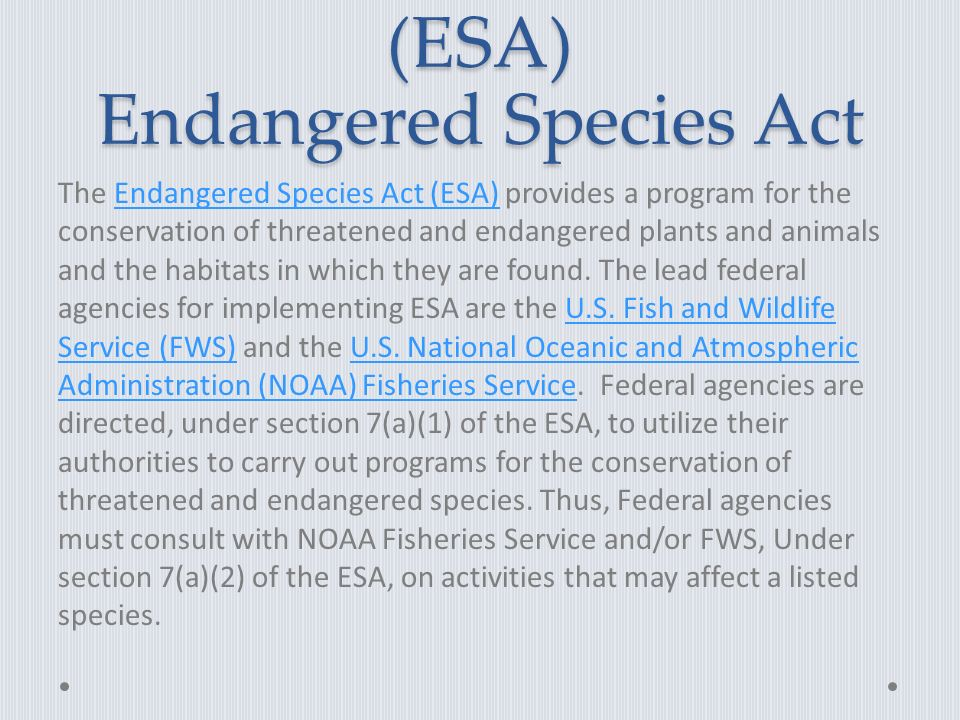 (ESA) Endangered Species Act The Endangered Species Act (ESA) provides a program for the conservation of threatened and endangered plants and animals and the habitats in which they are found.